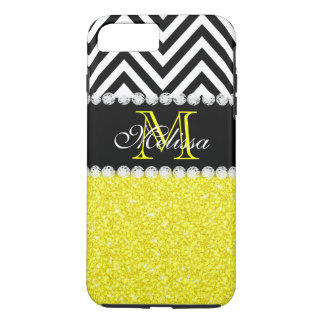 YELLOW GLITTER BLACK CHEVRON MONOGRAMMED iPhone 7 PLUS CASE