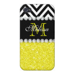 YELLOW GLITTER BLACK CHEVRON MONOGRAMMED iPhone 4 COVER