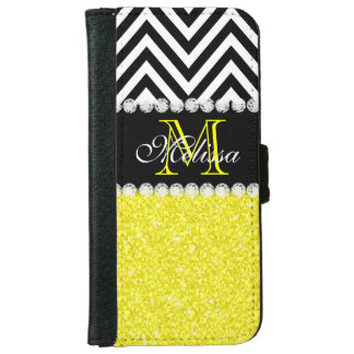 YELLOW GLITTER BLACK CHEVRON MONOGRAMMED WALLET PHONE CASE FOR iPhone 6/6S