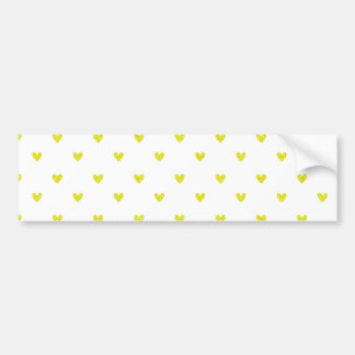 Yellow Glitter Hearts Pattern Bumper Sticker