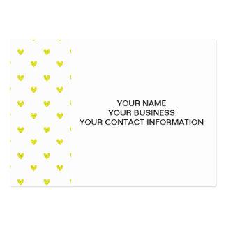 Yellow Glitter Hearts Pattern Business Card Templates