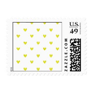Yellow Glitter Hearts Pattern Postage