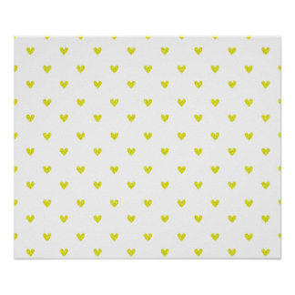 Yellow Glitter Hearts Pattern Poster