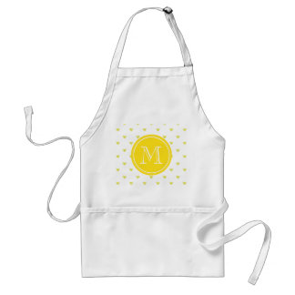 Yellow Glitter Hearts with Monogram Adult Apron