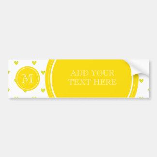 Yellow Glitter Hearts with Monogram Bumper Sticker