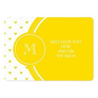 Yellow Glitter Hearts with Monogram Business Card