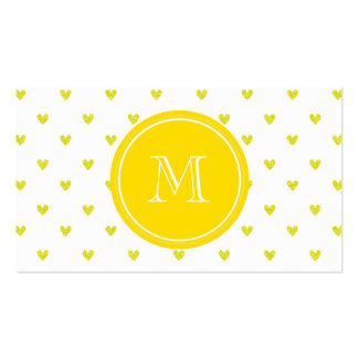 Yellow Glitter Hearts with Monogram Business Cards