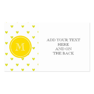 Yellow Glitter Hearts with Monogram Business Card Templates