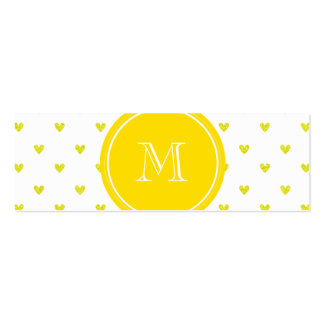 Yellow Glitter Hearts with Monogram Business Card Template