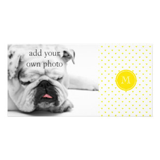 Yellow Glitter Hearts with Monogram Card