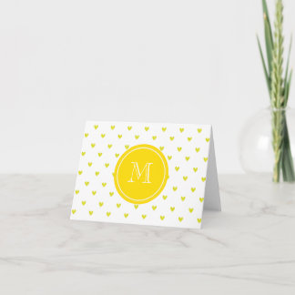 Yellow Glitter Hearts with Monogram Note Card