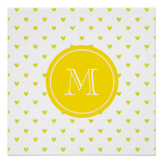 Yellow Glitter Hearts with Monogram Poster