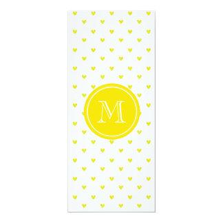 Yellow Glitter Hearts with MonogramCute Personaliz 4x9.25 Paper Invitation Card