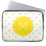 Yellow Glitter Hearts with MonogramCute Personaliz Laptop Sleeves