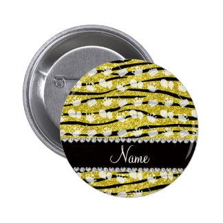 Yellow glitter zebra stripes birthday cake balloon button