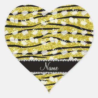 Yellow glitter zebra stripes birthday cake balloon heart sticker