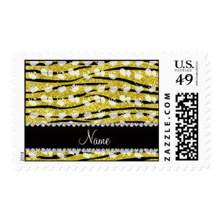 Yellow glitter zebra stripes birthday cake balloon postage