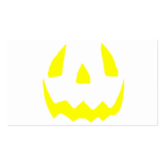 Yellow Glow Face Happy Halloween Business Cards