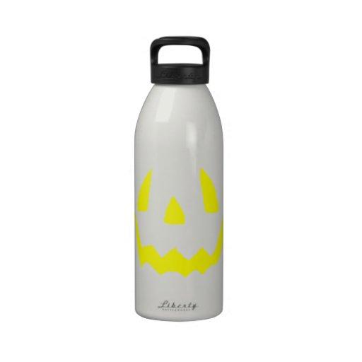 Yellow Glow Face Happy Halloween Drinking Bottle