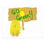 Yellow go green postcards