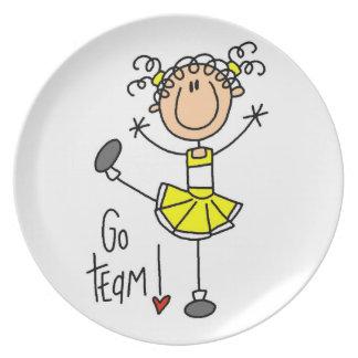 Yellow Go Team Cheerleader Melamine Plate