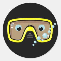 Yellow Goggles Classic Round Sticker
