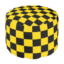 Yellow-Gold and Black Checkered Ottoman