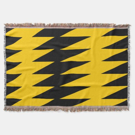 Yellow-Gold and Black Jagged Pattern Throw Blanket