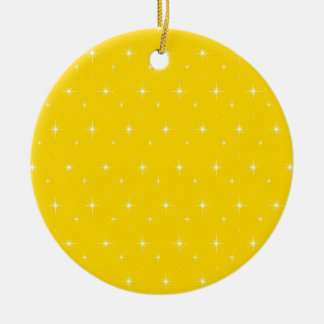 Yellow Gold And Bright Stars Elegant Pattern Double-Sided Ceramic Round Christmas Ornament