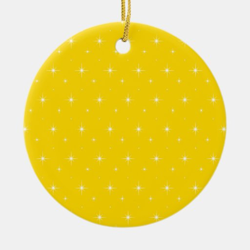 Yellow Gold And Bright Stars Elegant Pattern Ornament