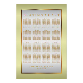 Yellow, Gold and White Satin -Seating Chart