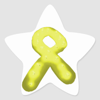 Yellow / Gold Awareness Ribbon Candle Star Sticker