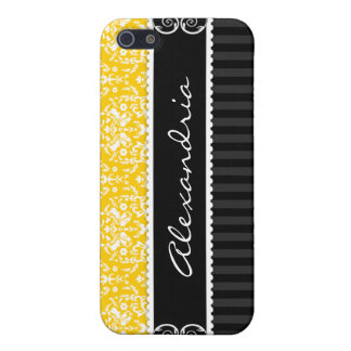 Yellow-Gold Black Customized Damask iPhone 4 Case
