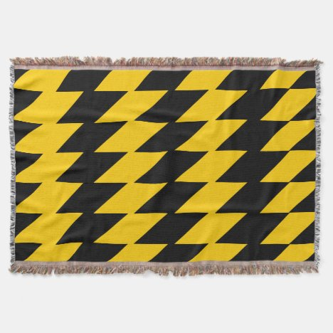 Yellow-Gold & Black Jagged 2 Patterned Throw Throw Blanket