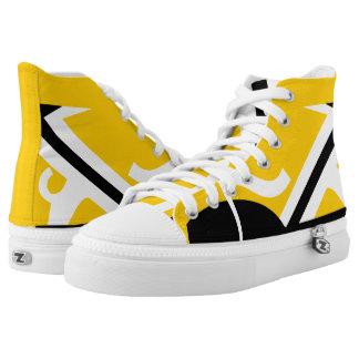 Yellow-Gold Black White Leverage II Custom Hi-Top Printed Shoes
