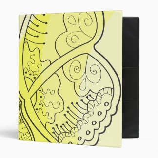 Yellow Gold Butterfly Henna Line Art Retro Pattern Binder