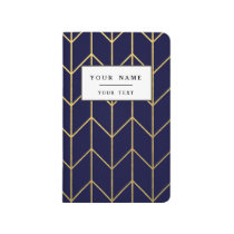 Yellow Gold Chevron Navy Blue Modern Chic Journal