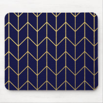 Yellow Gold Chevron Navy Blue Modern Chic Mouse Pad
