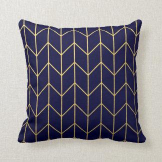 Gold Chevron Navy Blue Pillows - Decorative & Throw Pillows Zazzle