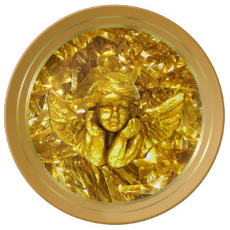 YELLOW GOLD  CHRISTMAS HOLIDAY PLATE