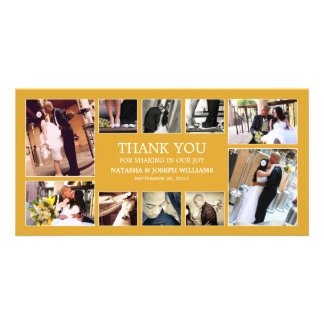 YELLOW GOLD COLLAGE | WEDDING THANK YOU CARD PERSONALIZED PHOTO CARD
