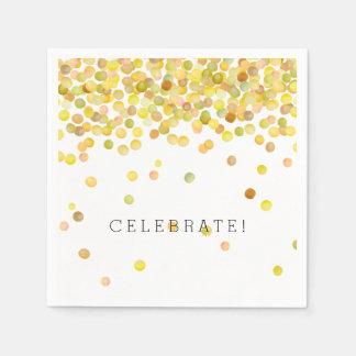 Yellow Gold Confetti Dots Paper Napkin