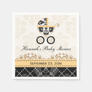 Yellow Gold Damask Carriage Baby Shower Napkin