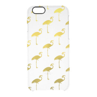 Yellow Gold Flamingo Faux Metallic Foil Tropical Clear iPhone 6/6S Case