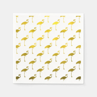 Yellow Gold Flamingo Faux Metallic Foil Tropical Paper Napkin