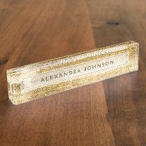Yellow Gold Foil Luxury Brush Strokes Desk Name Plate