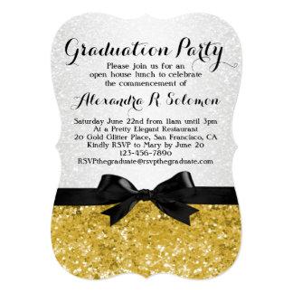 Yellow-Gold Glittery Graduation Party Invitation