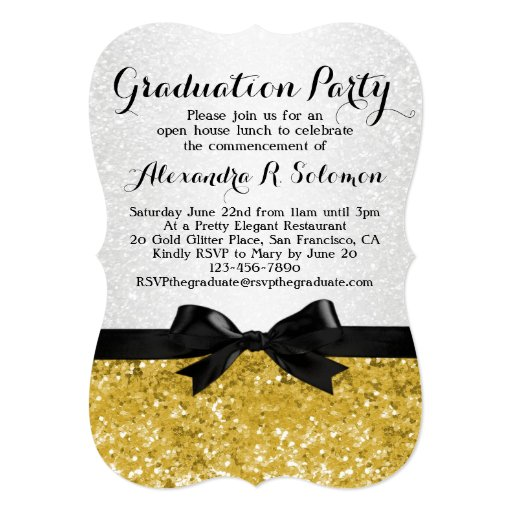 "Yellow-Gold Glittery Graduation Party Invitation 5"" X 7"" Invitation Card"