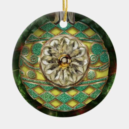 Yellow Gold Green Reflector Bulb Ceramic Ornament