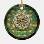 Yellow Gold Green Reflector Bulb Double-Sided Ceramic Round Christmas Ornament